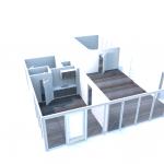 Totale ruimte verdeeld in 3 ruimtes